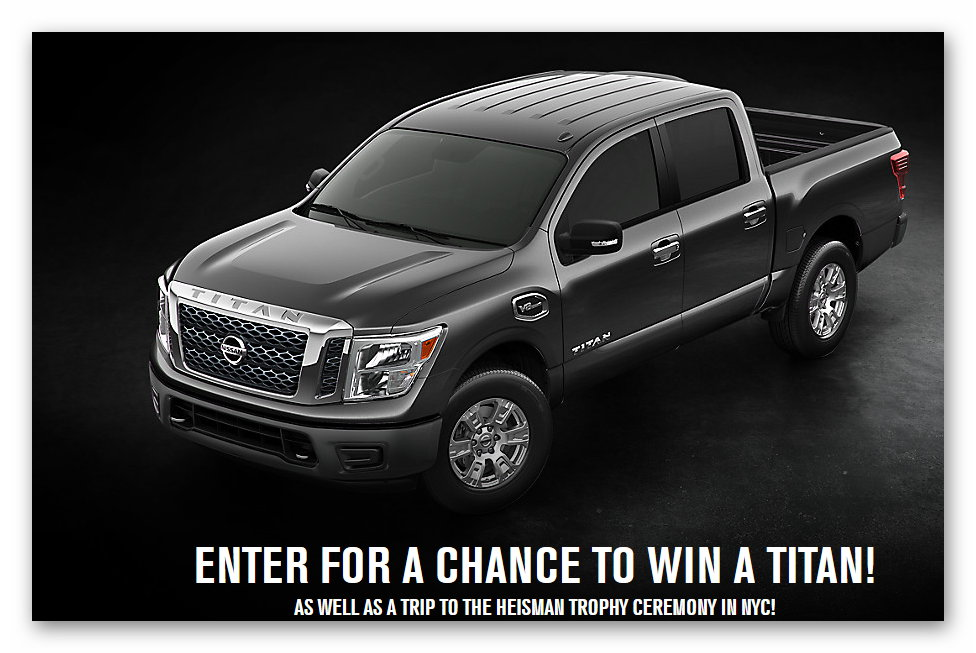 nissan titan giveaway the nissan 174 heisman house sweepstakes ends oct 31st 6677