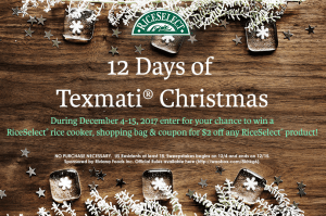 """RiceSelect® """"The 12 Days of Texmati® Christmas"""""""
