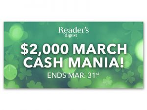 Reader's Digest $2,000 March Cash Mania