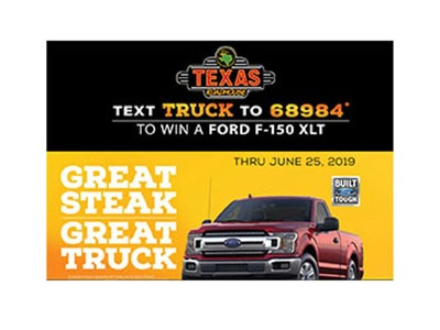 Texas Roadhouse Ford Truck Giveaway